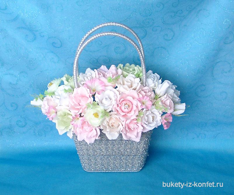 Корзина для цветов из конфет
