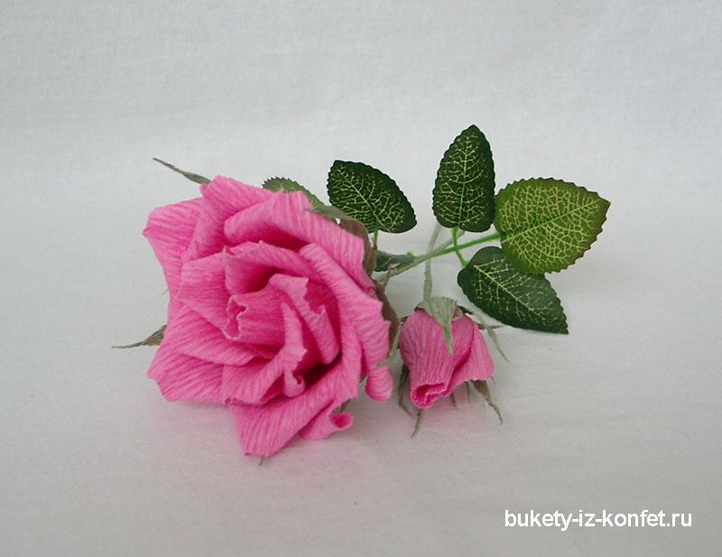 Роза из гофрированной бумаги своими руками