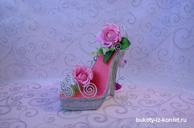 Туфелька из конфет мастер класс