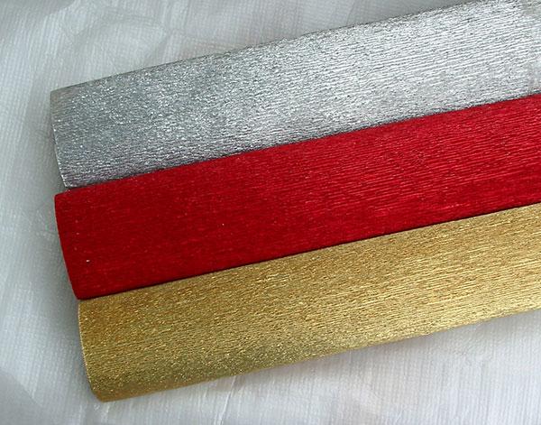 Гофрированная бумага для букетов из конфет с металлическим оттенком