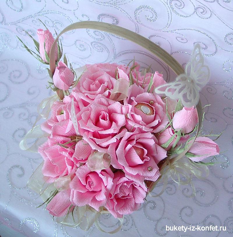 Фото как сделать розы из гофрированной бумаги своими руками