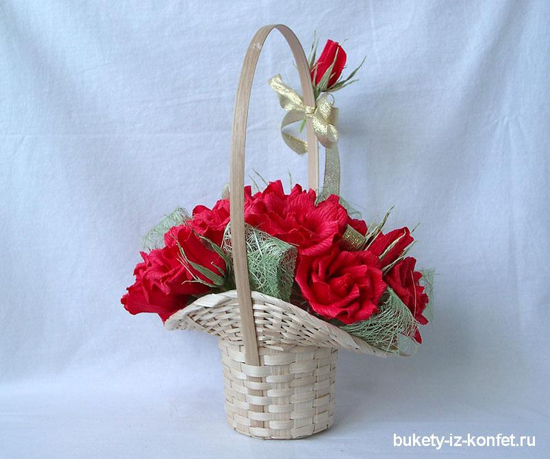 Бутоны розы из гофрированной бумаги и конфет мастер класс 164