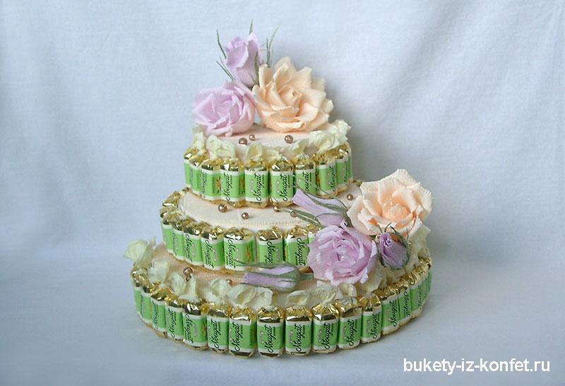 Цветы из конфет своими руками торты