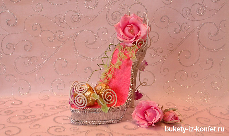 Как сделать туфельку из конфет