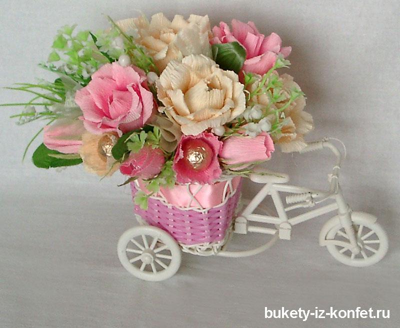 повозка со цветами из конфет мастер класс